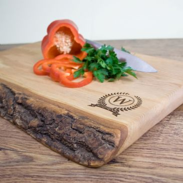 Rustic Welsh Ash Chopping Board with Olympic Monogram